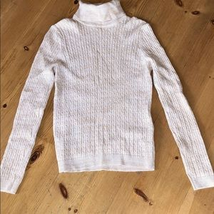 Cream with Gold thread turtleneck sweater